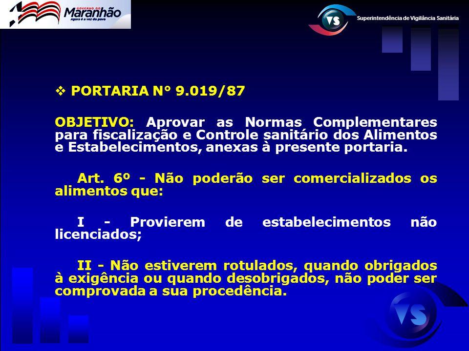 Superintendência de Vigilância Sanitária  PORTARIA N° 9.019/87 OBJETIVO: Aprovar as Normas Complementares para fiscalização e Controle sanitário dos