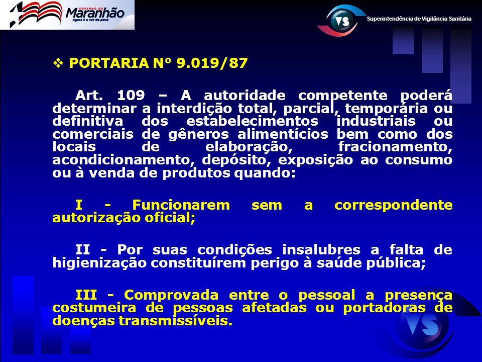 Superintendência de Vigilância Sanitária  PORTARIA N° 9.019/87 Art. 109 – A autoridade competente poderá determinar a interdição total, parcial, temp