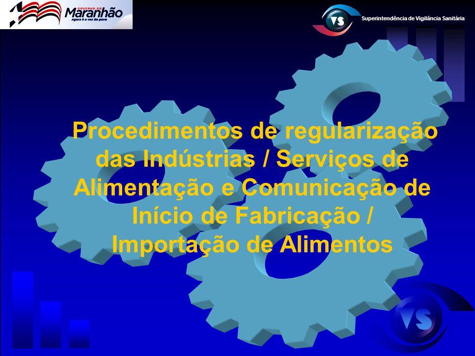 Superintendência de Vigilância Sanitária Procedimentos de regularização das Indústrias / Serviços de Alimentação e Comunicação de Início de Fabricação