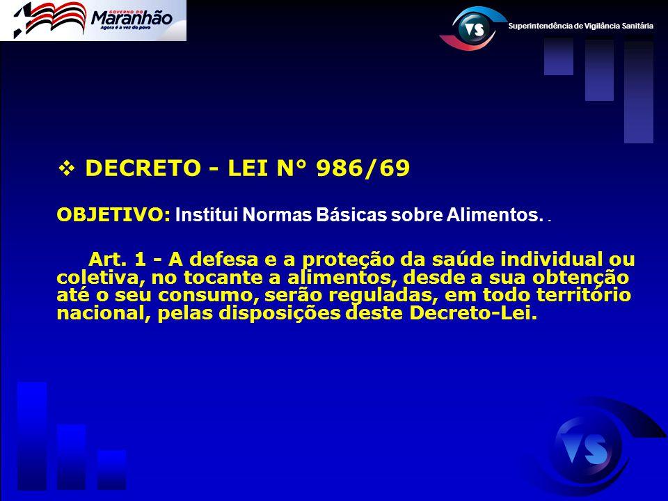 Superintendência de Vigilância Sanitária  DECRETO - LEI N° 986/69 OBJETIVO: Institui Normas Básicas sobre Alimentos.. Art. 1 - A defesa e a proteção