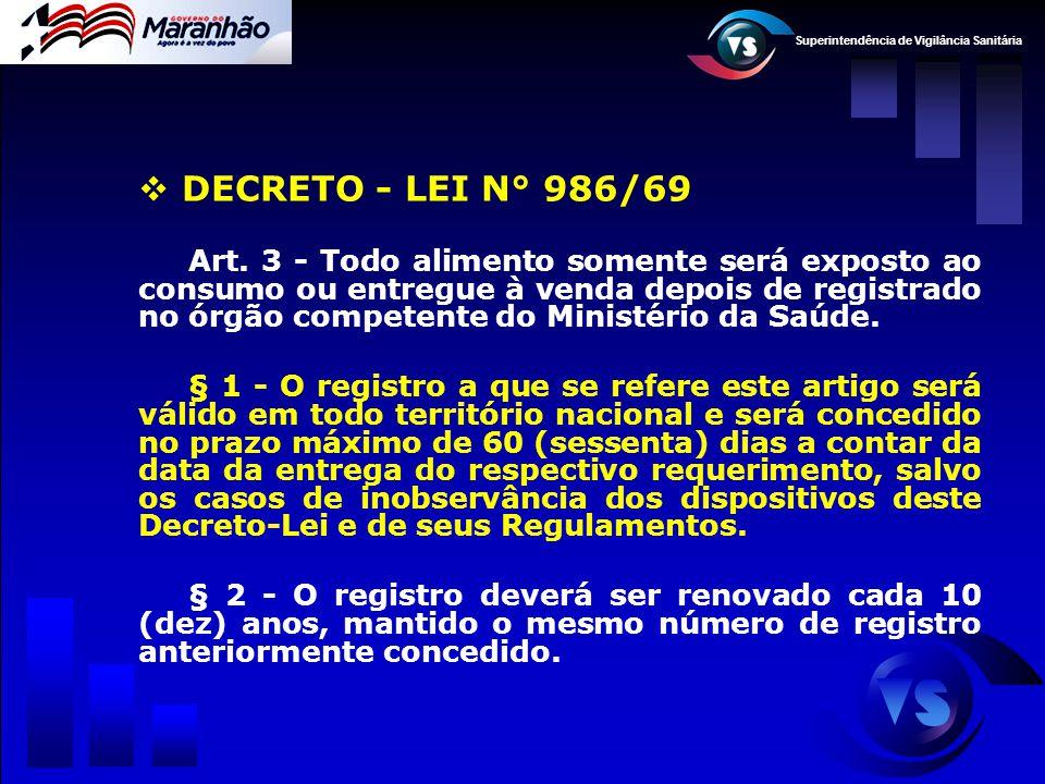 Superintendência de Vigilância Sanitária  DECRETO - LEI N° 986/69 Art. 3 - Todo alimento somente será exposto ao consumo ou entregue à venda depois d