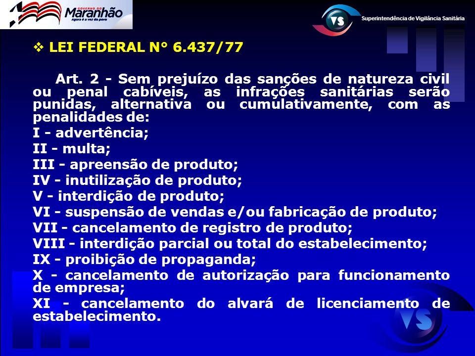 Superintendência de Vigilância Sanitária  LEI FEDERAL N° 6.437/77 Art. 2 - Sem prejuízo das sanções de natureza civil ou penal cabíveis, as infrações