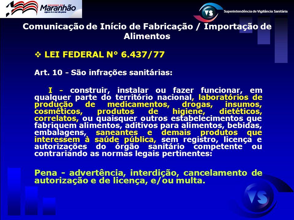 Superintendência de Vigilância Sanitária  LEI FEDERAL N° 6.437/77 Art. 10 - São infrações sanitárias: I - construir, instalar ou fazer funcionar, em