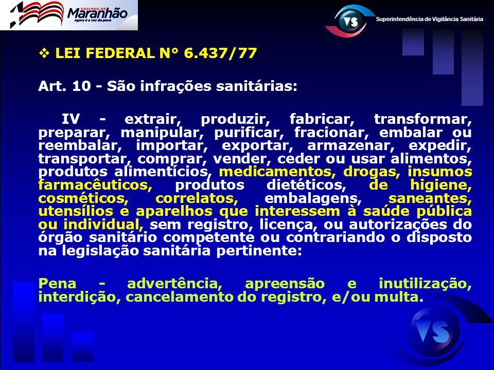 Superintendência de Vigilância Sanitária  LEI FEDERAL N° 6.437/77 Art. 10 - São infrações sanitárias: IV - extrair, produzir, fabricar, transformar,