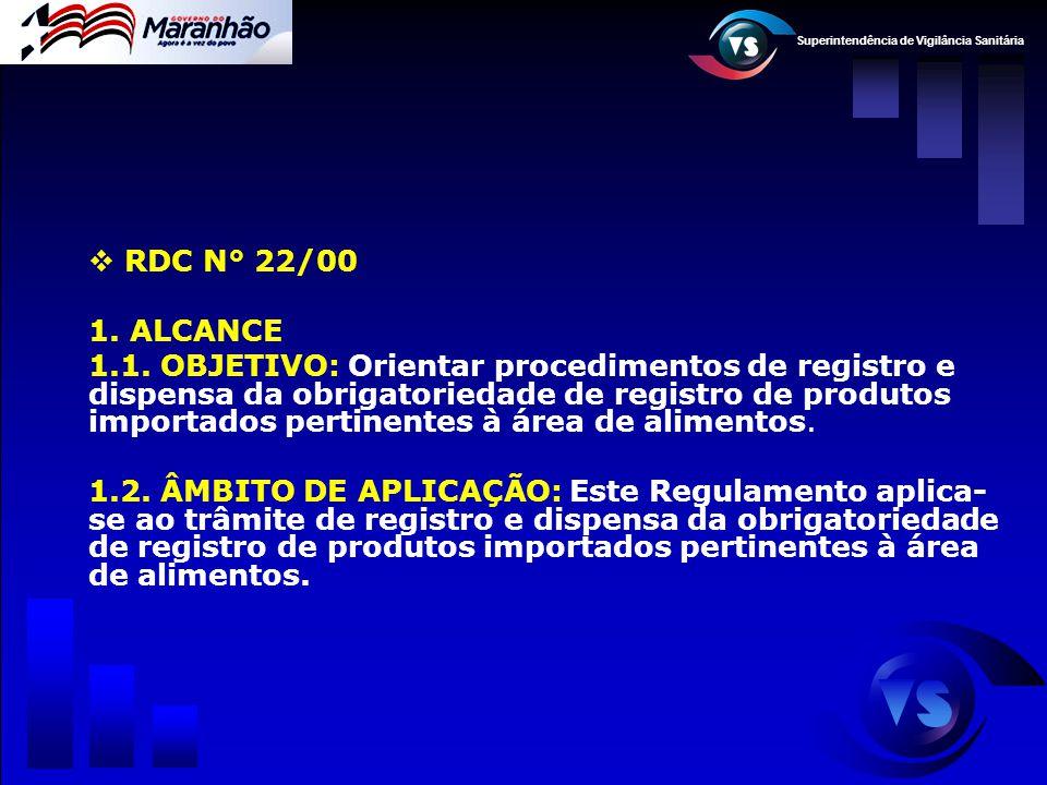 Superintendência de Vigilância Sanitária  RDC N° 22/00 1. ALCANCE 1.1. OBJETIVO: Orientar procedimentos de registro e dispensa da obrigatoriedade de
