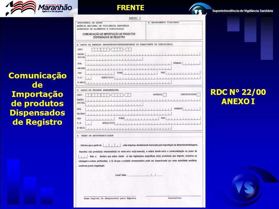 Superintendência de Vigilância Sanitária RDC N° 22/00 ANEXO I Comunicação de Importação de produtos Dispensados de Registro FRENTE