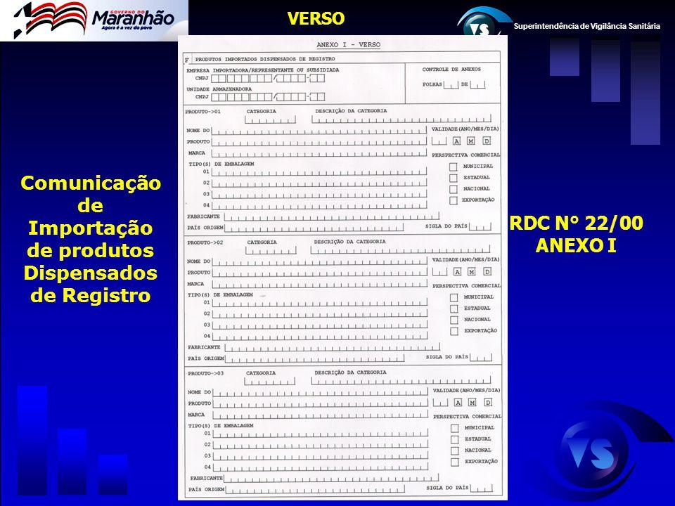 Superintendência de Vigilância Sanitária VERSO RDC N° 22/00 ANEXO I Comunicação de Importação de produtos Dispensados de Registro