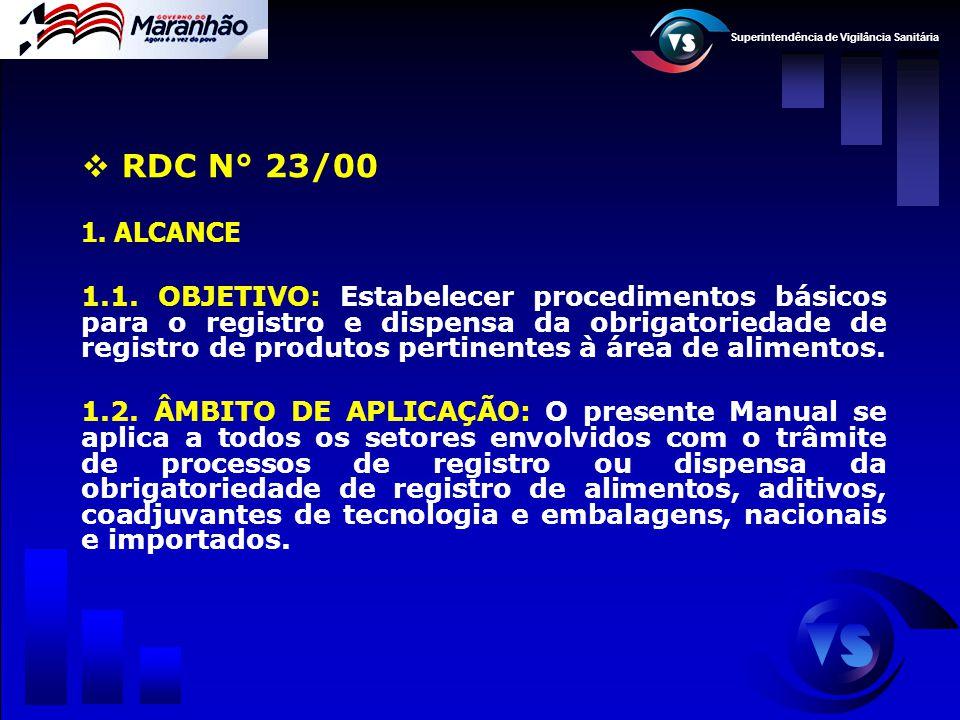 Superintendência de Vigilância Sanitária  RDC N° 23/00 1. ALCANCE 1.1. OBJETIVO: Estabelecer procedimentos básicos para o registro e dispensa da obri