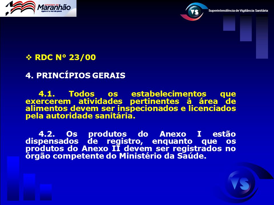 Superintendência de Vigilância Sanitária  RDC N° 23/00 4. PRINCÍPIOS GERAIS 4.1. Todos os estabelecimentos que exercerem atividades pertinentes à áre