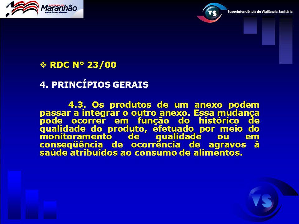 Superintendência de Vigilância Sanitária  RDC N° 23/00 4. PRINCÍPIOS GERAIS 4.3. Os produtos de um anexo podem passar a integrar o outro anexo. Essa
