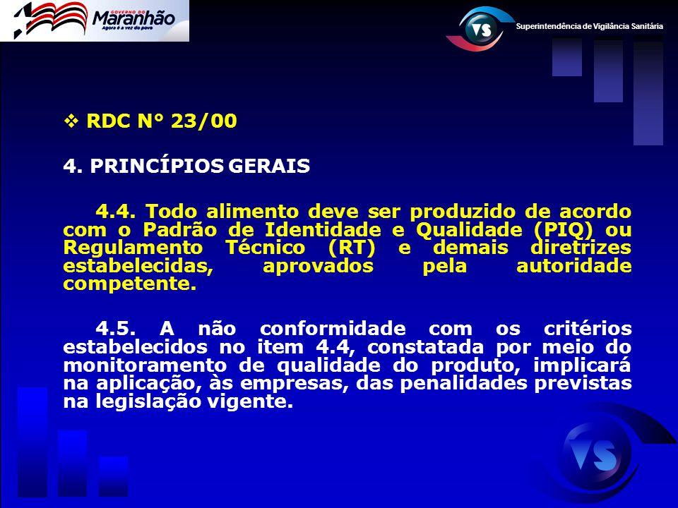 Superintendência de Vigilância Sanitária  RDC N° 23/00 4. PRINCÍPIOS GERAIS 4.4. Todo alimento deve ser produzido de acordo com o Padrão de Identidad