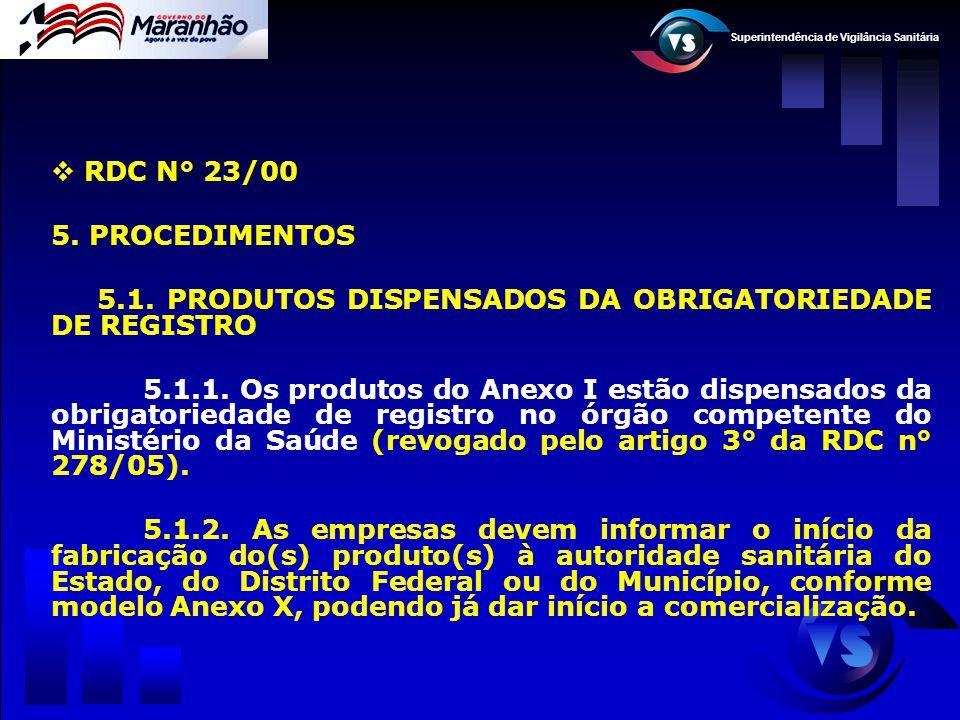 Superintendência de Vigilância Sanitária  RDC N° 23/00 5. PROCEDIMENTOS 5.1. PRODUTOS DISPENSADOS DA OBRIGATORIEDADE DE REGISTRO 5.1.1. Os produtos d