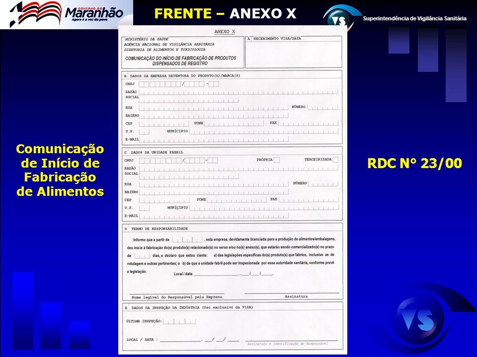 Superintendência de Vigilância Sanitária Comunicação de Início de Fabricação de Alimentos FRENTE – ANEXO X RDC N° 23/00