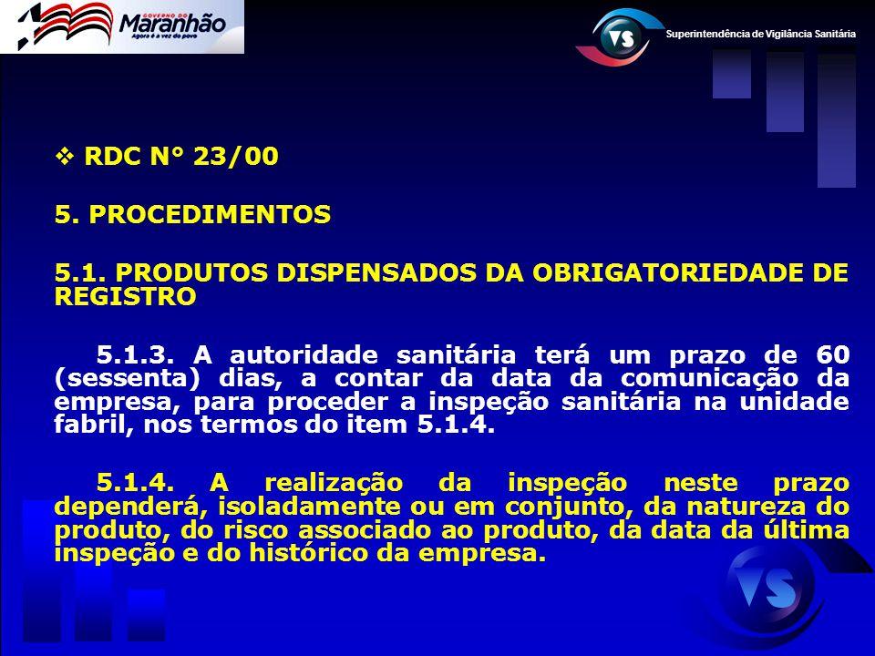 Superintendência de Vigilância Sanitária  RDC N° 23/00 5. PROCEDIMENTOS 5.1. PRODUTOS DISPENSADOS DA OBRIGATORIEDADE DE REGISTRO 5.1.3. A autoridade