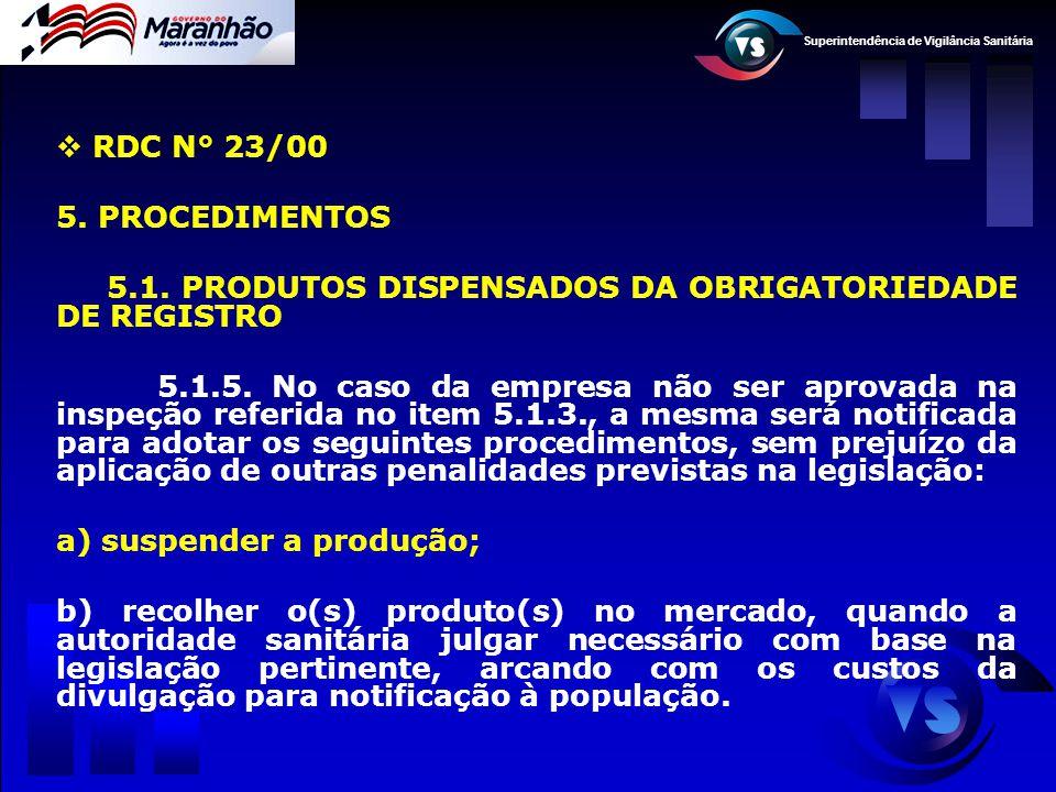 Superintendência de Vigilância Sanitária  RDC N° 23/00 5. PROCEDIMENTOS 5.1. PRODUTOS DISPENSADOS DA OBRIGATORIEDADE DE REGISTRO 5.1.5. No caso da em