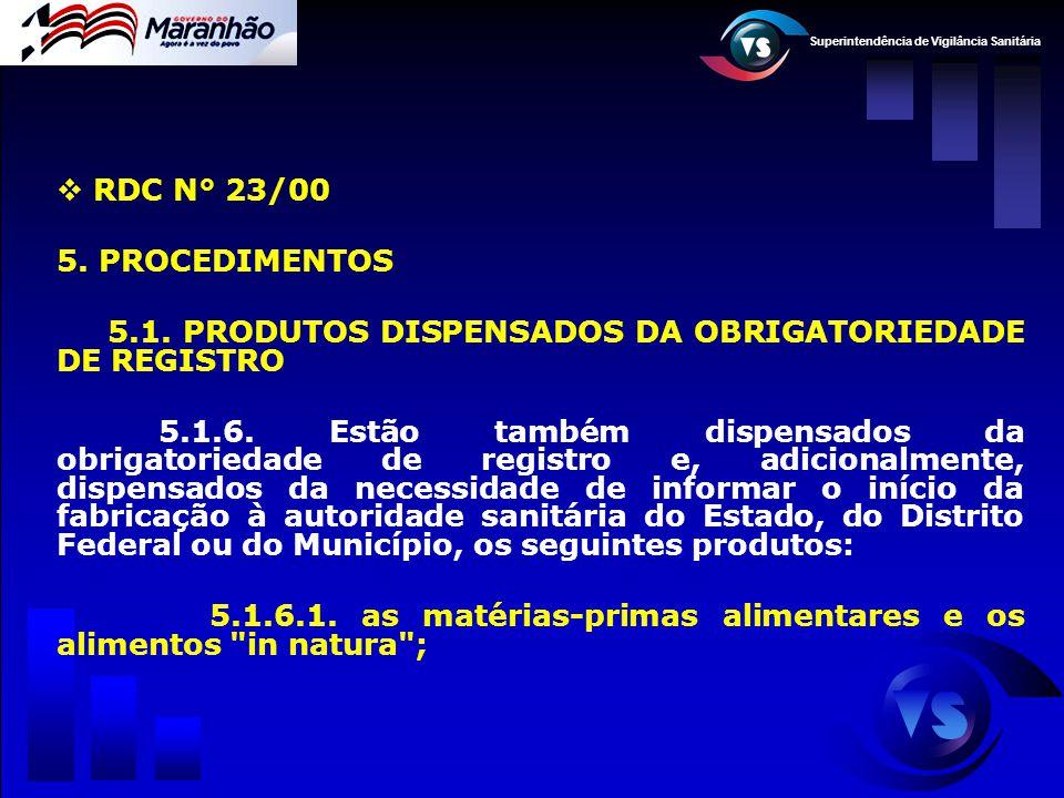 Superintendência de Vigilância Sanitária  RDC N° 23/00 5. PROCEDIMENTOS 5.1. PRODUTOS DISPENSADOS DA OBRIGATORIEDADE DE REGISTRO 5.1.6. Estão também