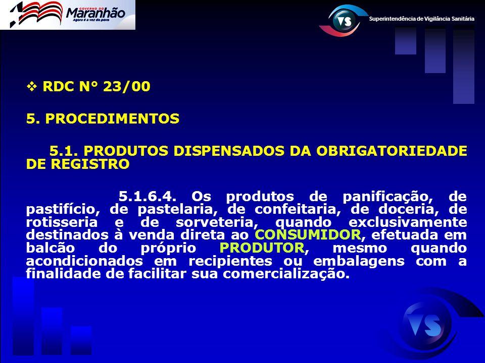 Superintendência de Vigilância Sanitária  RDC N° 23/00 5. PROCEDIMENTOS 5.1. PRODUTOS DISPENSADOS DA OBRIGATORIEDADE DE REGISTRO 5.1.6.4. Os produtos