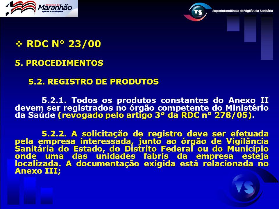 Superintendência de Vigilância Sanitária  RDC N° 23/00 5. PROCEDIMENTOS 5.2. REGISTRO DE PRODUTOS 5.2.1. Todos os produtos constantes do Anexo II dev