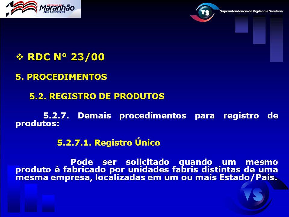 Superintendência de Vigilância Sanitária  RDC N° 23/00 5. PROCEDIMENTOS 5.2. REGISTRO DE PRODUTOS 5.2.7. Demais procedimentos para registro de produt