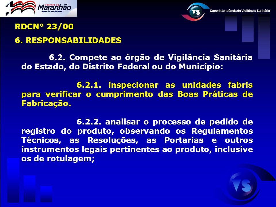 Superintendência de Vigilância Sanitária 6.2. Compete ao órgão de Vigilância Sanitária do Estado, do Distrito Federal ou do Município: 6.2.1. inspecio