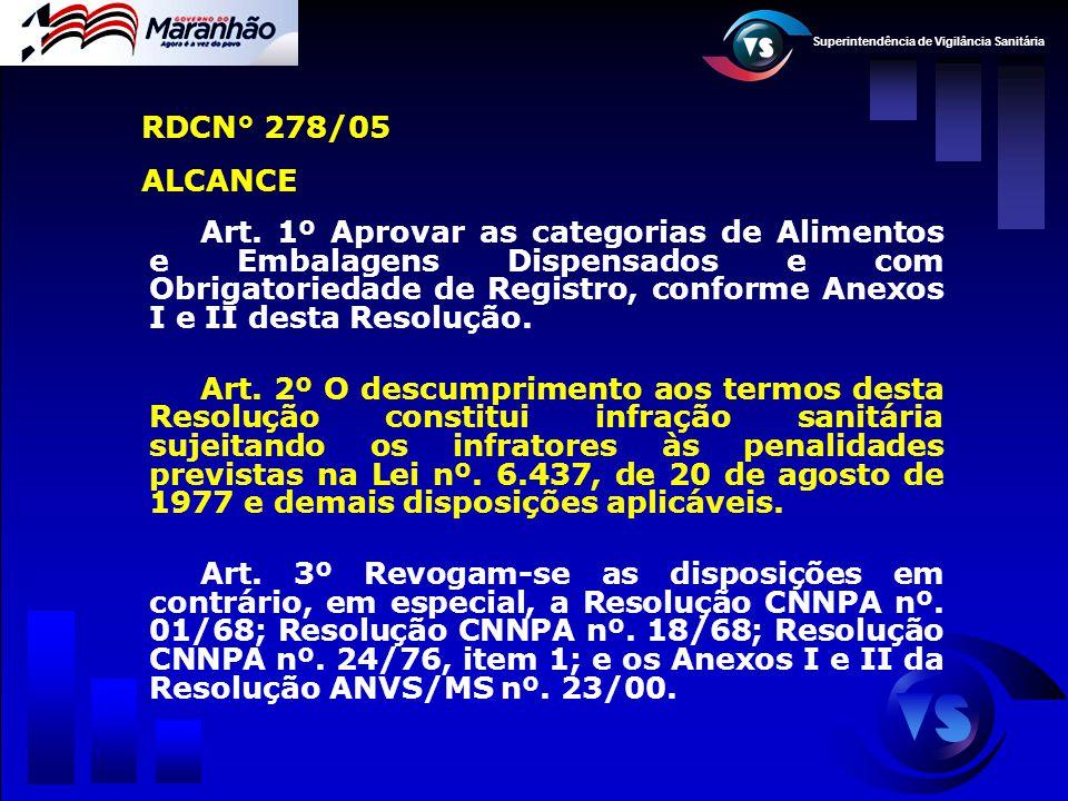 Superintendência de Vigilância Sanitária RDCN° 278/05 ALCANCE Art. 1º Aprovar as categorias de Alimentos e Embalagens Dispensados e com Obrigatoriedad