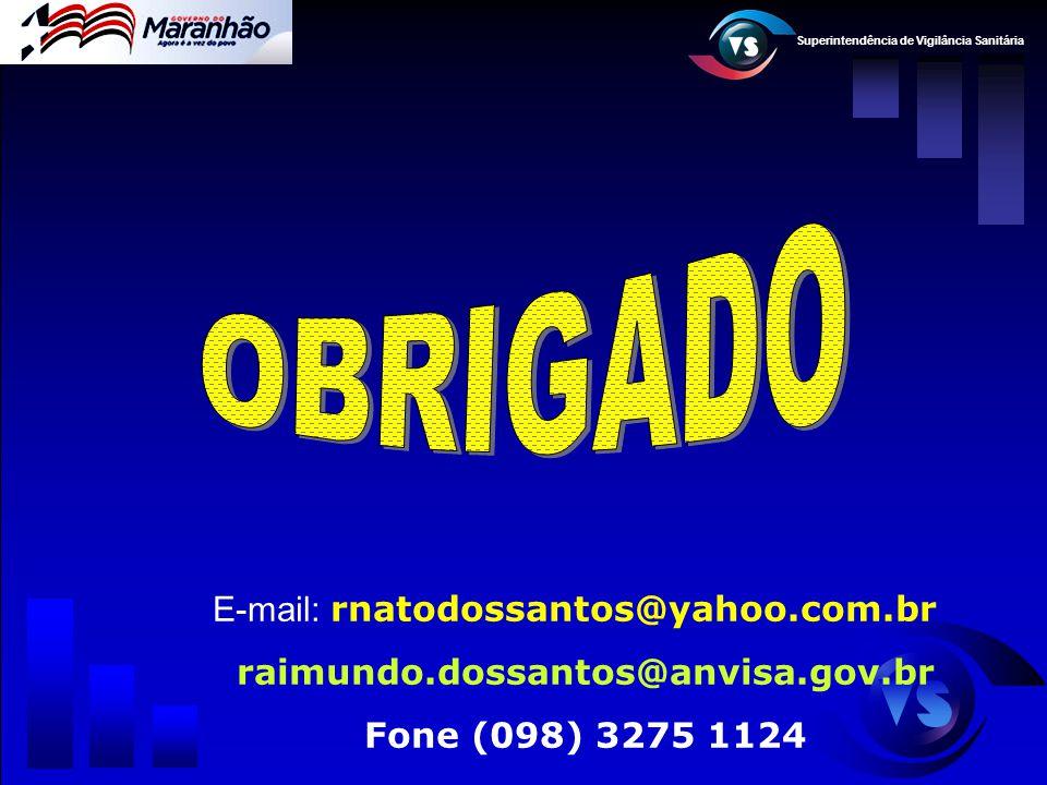 Superintendência de Vigilância Sanitária E-mail: rnatodossantos@yahoo.com.br raimundo.dossantos@anvisa.gov.br Fone (098) 3275 1124