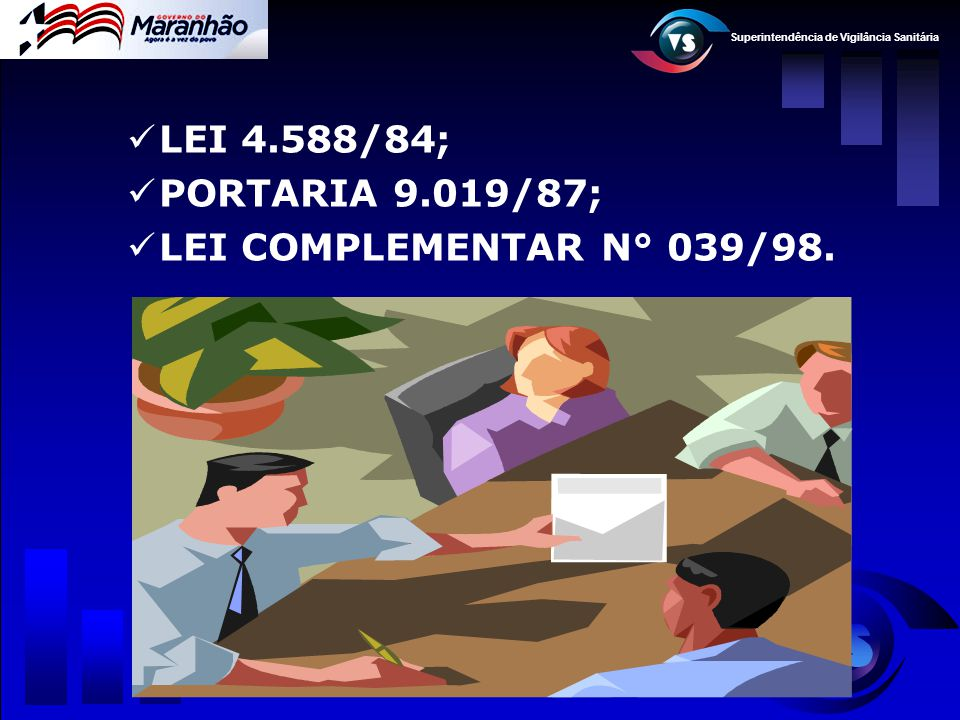 Superintendência de Vigilância Sanitária  LEI N° 4.588/84 OBJETIVO: Código Estadual da Saúde Art.