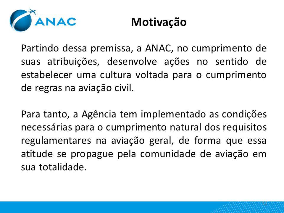 12 Partindo dessa premissa, a ANAC, no cumprimento de suas atribuições, desenvolve ações no sentido de estabelecer uma cultura voltada para o cumprime