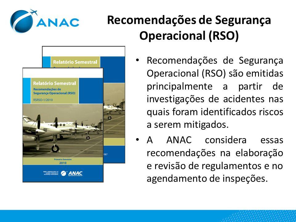 Recomendações de Segurança Operacional (RSO) Recomendações de Segurança Operacional (RSO) são emitidas principalmente a partir de investigações de aci