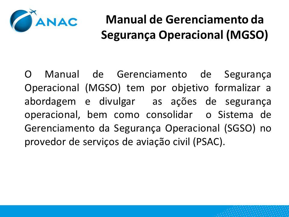 Manual de Gerenciamento da Segurança Operacional (MGSO) O Manual de Gerenciamento de Segurança Operacional (MGSO) tem por objetivo formalizar a aborda