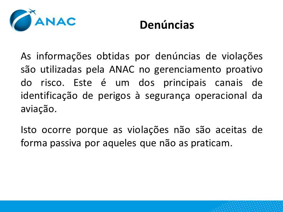 Denúncias As informações obtidas por denúncias de violações são utilizadas pela ANAC no gerenciamento proativo do risco. Este é um dos principais cana