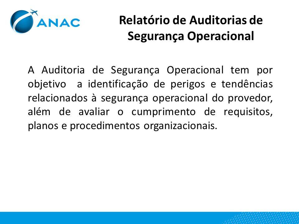 A Auditoria de Segurança Operacional tem por objetivo a identificação de perigos e tendências relacionados à segurança operacional do provedor, além d
