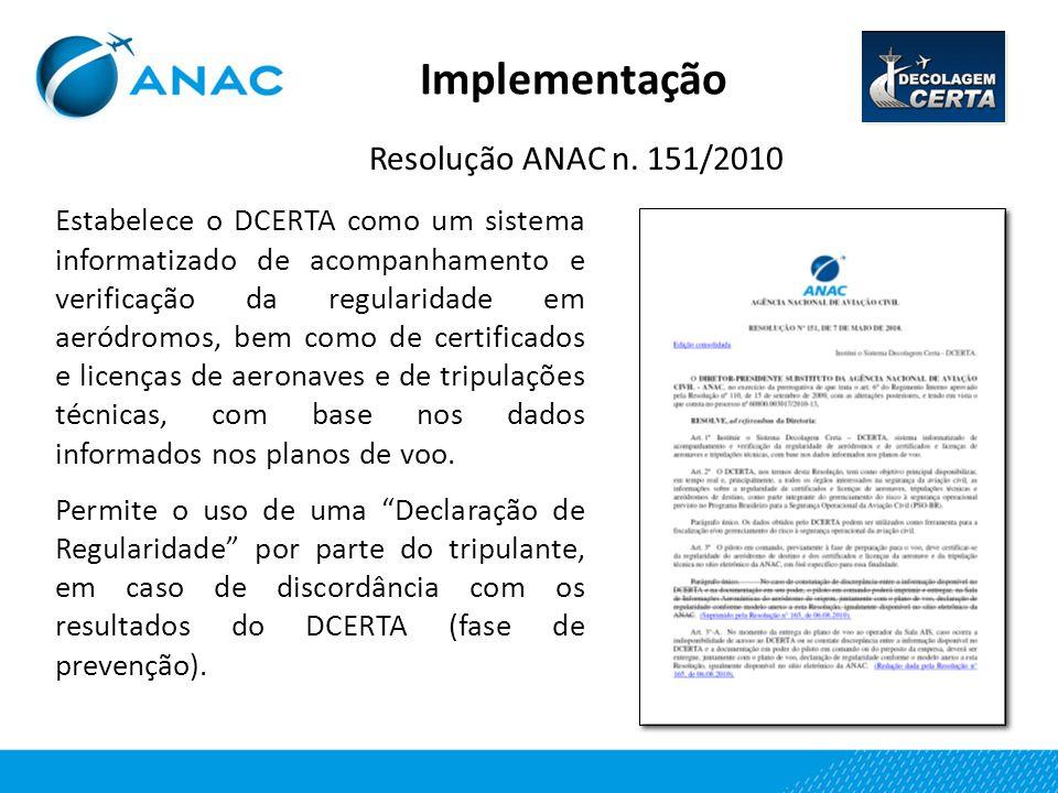Implementação Resolução ANAC n. 151/2010 Estabelece o DCERTA como um sistema informatizado de acompanhamento e verificação da regularidade em aeródrom