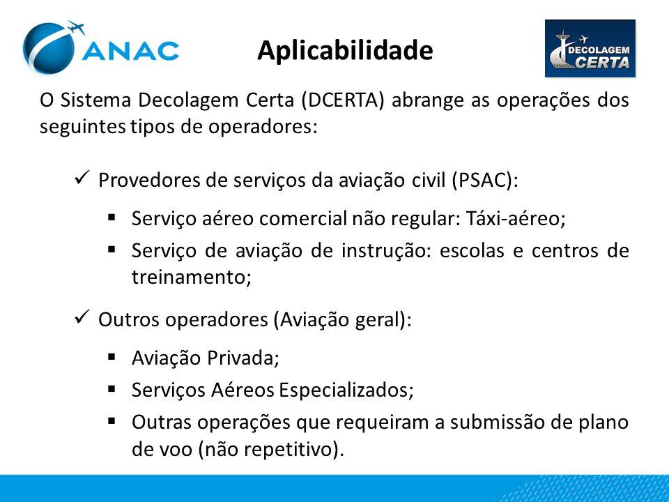 Aplicabilidade O Sistema Decolagem Certa (DCERTA) abrange as operações dos seguintes tipos de operadores: Provedores de serviços da aviação civil (PSA
