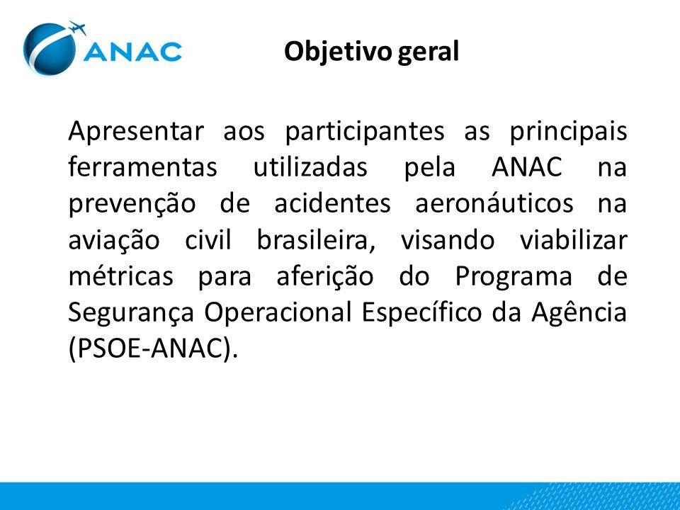 Objetivo geral Apresentar aos participantes as principais ferramentas utilizadas pela ANAC na prevenção de acidentes aeronáuticos na aviação civil bra
