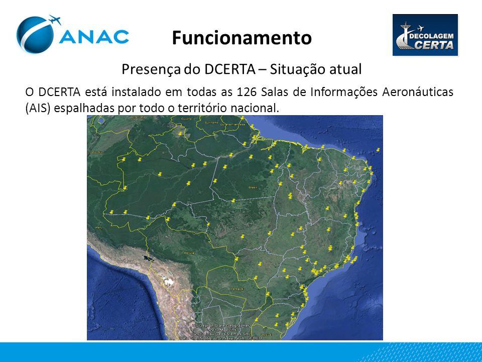 Funcionamento Presença do DCERTA – Situação atual O DCERTA está instalado em todas as 126 Salas de Informações Aeronáuticas (AIS) espalhadas por todo