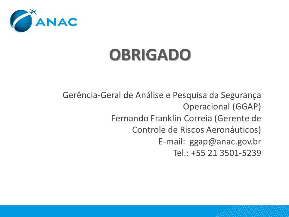 Gerência-Geral de Análise e Pesquisa da Segurança Operacional (GGAP) Fernando Franklin Correia (Gerente de Controle de Riscos Aeronáuticos) E-mail: gg