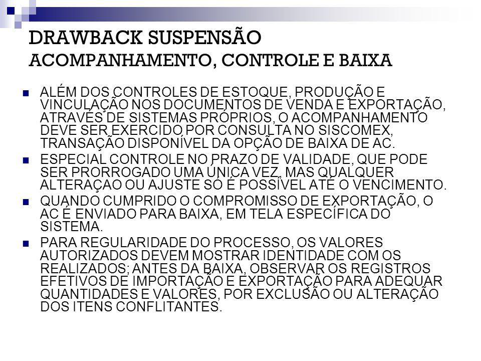 DRAWBACK SUSPENSÃO ACOMPANHAMENTO, CONTROLE E BAIXA ALÉM DOS CONTROLES DE ESTOQUE, PRODUÇÃO E VINCULAÇÃO NOS DOCUMENTOS DE VENDA E EXPORTAÇÃO, ATRAVÉS