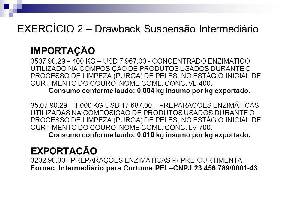 EXERCÍCIO 2 – Drawback Suspensão Intermediário IMPORTAÇÃO 3507.90.29 – 400 KG – USD 7.967,00 - CONCENTRADO ENZIMATICO UTILIZADO NA COMPOSIÇAO DE PRODU