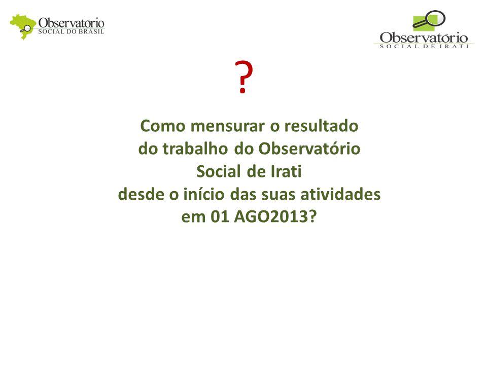 Como mensurar o resultado do trabalho do Observatório Social de Irati desde o início das suas atividades em 01 AGO2013.