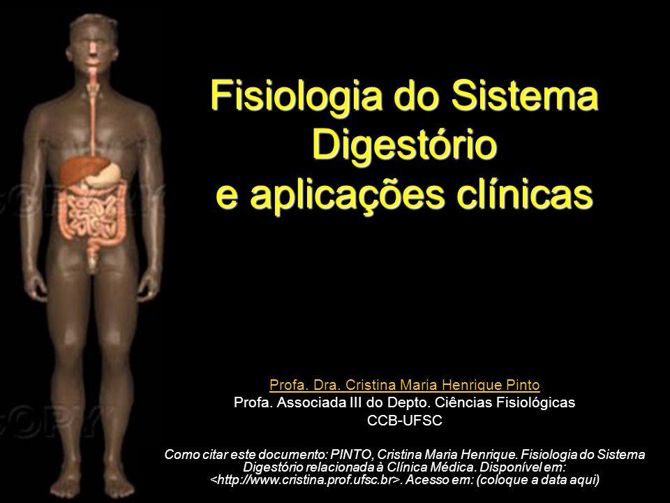 Fisiologia do Sistema Digestório e aplicações clínicas Profa. Dra. Cristina Maria Henrique Pinto Profa. Associada III do Depto. Ciências Fisiológicas
