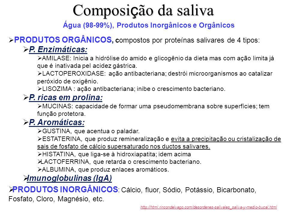 extraído, enquanto disponível (2007), de: http://www.uv.es/~salgado/odonto/ documento: http://www.uv.es/~salgado/odonto/.files/Tema21.pdfhttp://www.uv.es/~salgado/odonto/http://www.uv.es/~salgado/odonto/.files/Tema21.pdf COMPARAÇÃO ENTRE OS COMPONENTES DA SALIVA E DO PLASMA A saliva é hipotônica em relação ao plasma
