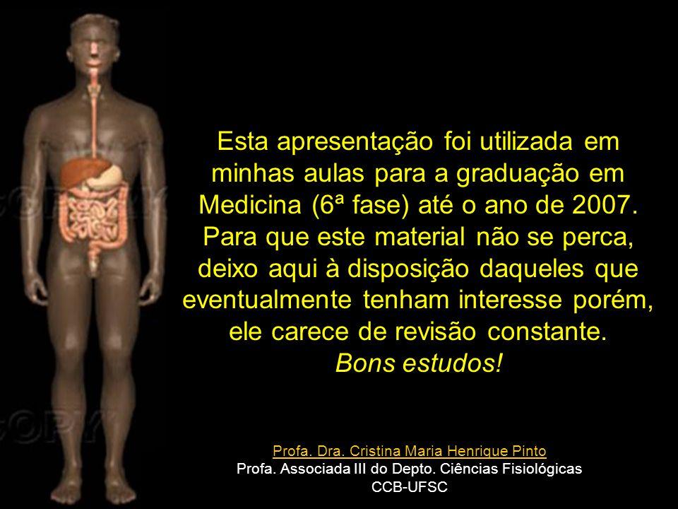 Profa. Dra. Cristina Maria Henrique Pinto Profa. Associada III do Depto. Ciências Fisiológicas CCB-UFSC Esta apresentação foi utilizada em minhas aula