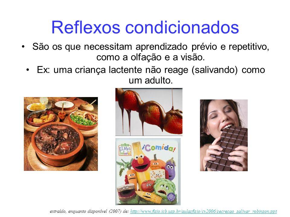 Reflexos condicionados São os que necessitam aprendizado prévio e repetitivo, como a olfação e a visão. Ex: uma criança lactente não reage (salivando)