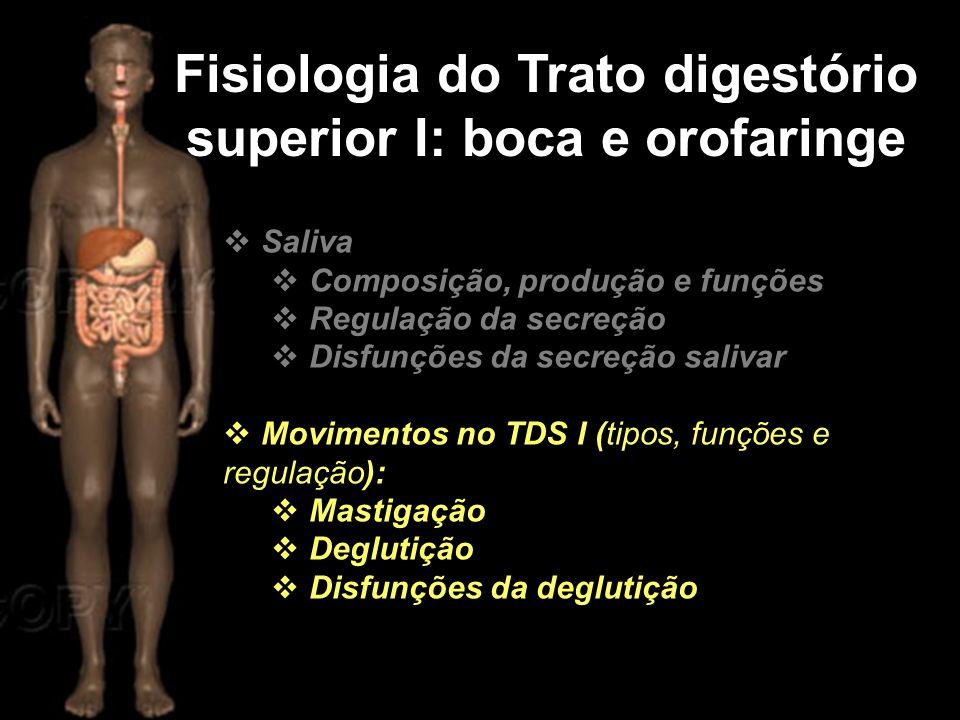 Fisiologia do Trato digestório superior I: boca e orofaringe  Saliva  Composição, produção e funções  Regulação da secreção  Disfunções da secreçã