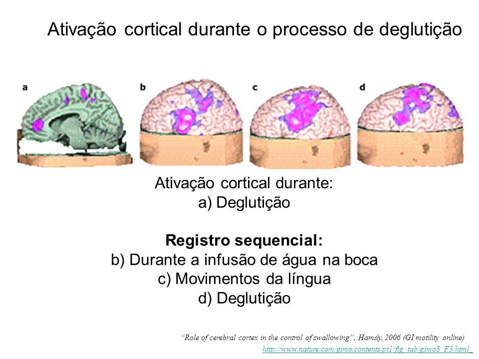 Ativação cortical durante: a)Deglutição Registro sequencial: b) Durante a infusão de água na boca c) Movimentos da língua d) Deglutição Ativação corti