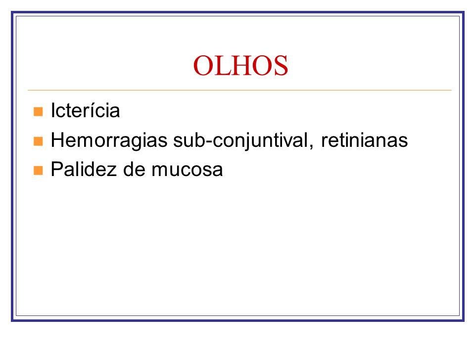 OLHOS Icterícia Hemorragias sub-conjuntival, retinianas Palidez de mucosa