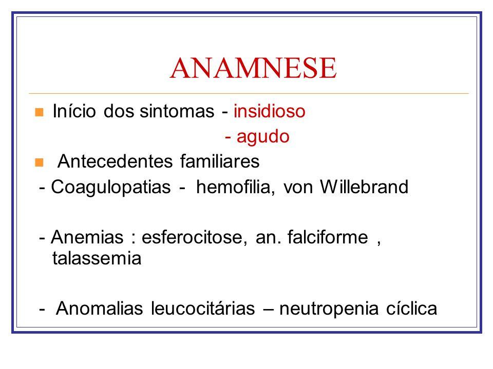ANAMNESE Início dos sintomas - insidioso - agudo Antecedentes familiares - Coagulopatias - hemofilia, von Willebrand - Anemias : esferocitose, an. fal