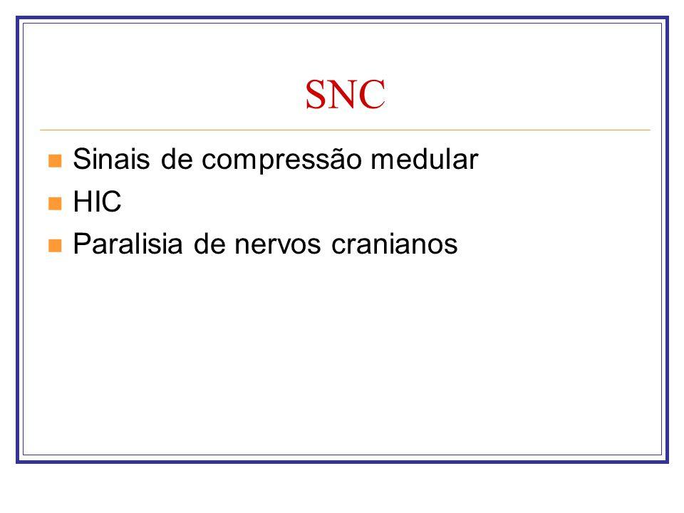 SNC Sinais de compressão medular HIC Paralisia de nervos cranianos