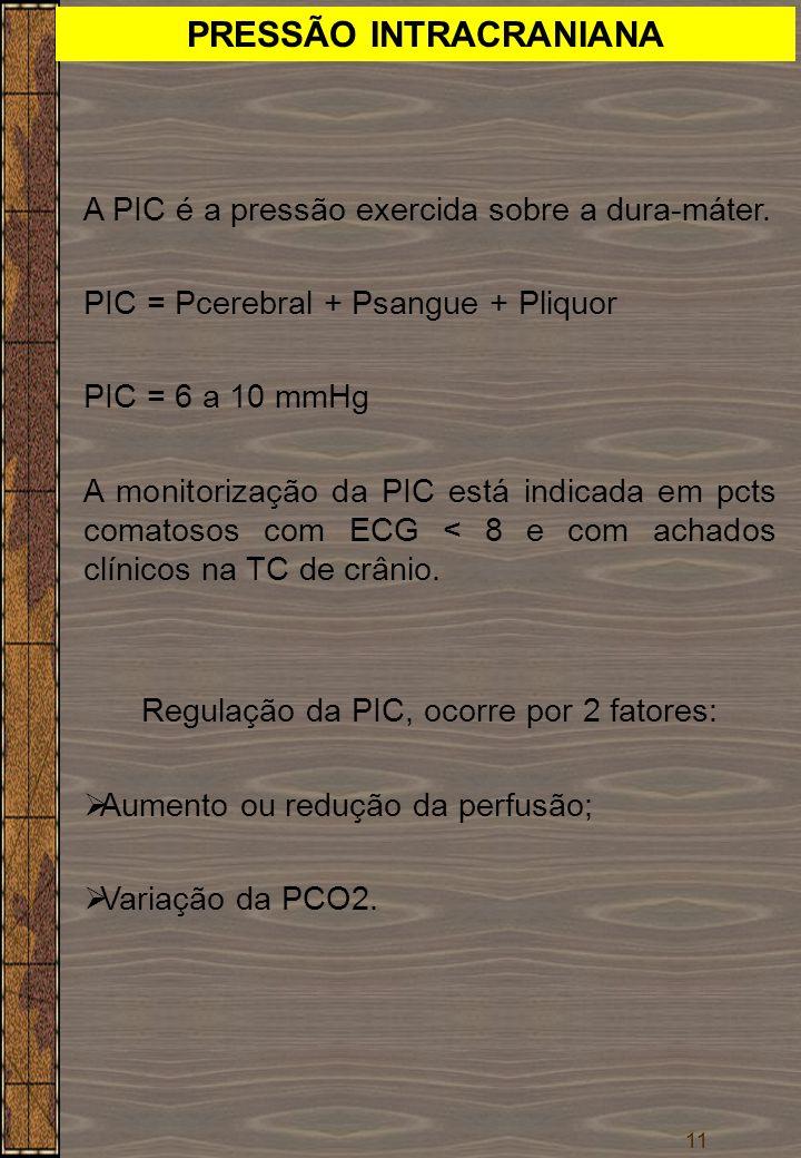 11 PRESSÃO INTRACRANIANA A PIC é a pressão exercida sobre a dura-máter. PIC = Pcerebral + Psangue + Pliquor PIC = 6 a 10 mmHg A monitorização da PIC e